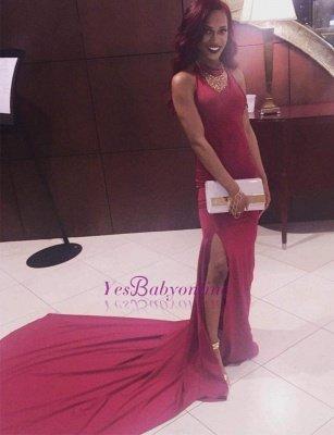 Simple Mermaid Long Side-Slit Burgundy Open-Back Prom Dresses_1