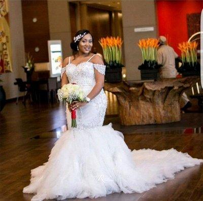 Glamorous Cap-Sleeve Appliques Plus-Size Lace Mermaid Wedding Dress_8
