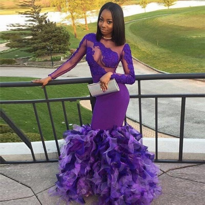 Long Purple Mermaid Prom Dresses   Long Sleeves Appliques Ruffles Evening Gowns_4