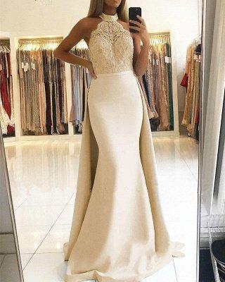 Elegant Mermaid Halter Prom Dresses   Long Lace Ruffles Evening Gowns_1