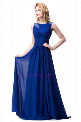 Scoop-neck Sleeveless Ruffled with Royal-blue  Long Beads Prom Dress_6