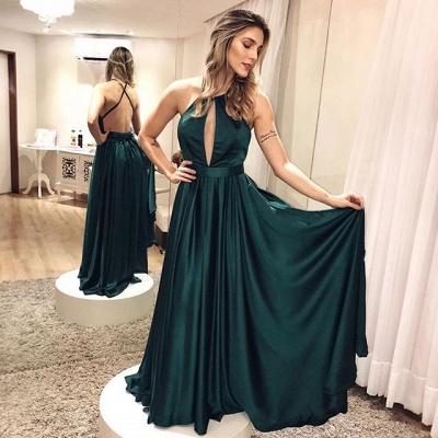 Backless Simple Elegant Cross-criss Dark-green Formal Dress_2