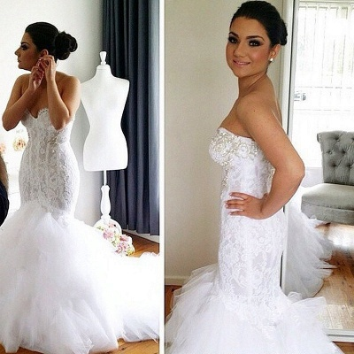 Glamorous Sweetheart Sexy Mermaid Lace Wedding Dresses   Court Train Beaded Bridal Dresses_2