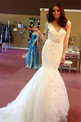 V-neck Tulle Beaded Sequins Puffy Glamorous Mermaid Wedding Dresses_2