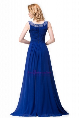 Scoop-neck Sleeveless Ruffled with Royal-blue  Long Beads Prom Dress_4