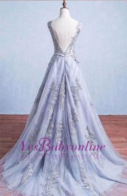 Lace-Applique A-Line Elegant Scoop Sleeveless Prom Dresses_1