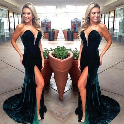 Dark Green Velvet Prom Dresses   Sexy Side Slit Evening Gowns_3