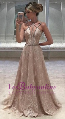 Open-Back Long Sexy Lace Straps Sleeveless Beaded Evening Dress_1