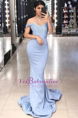 Sexy Court Train Lace Evening Dresses | Off-the-shoulder Sheath Prom Dresses_2