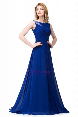 Scoop-neck Sleeveless Ruffled with Royal-blue  Long Beads Prom Dress_3