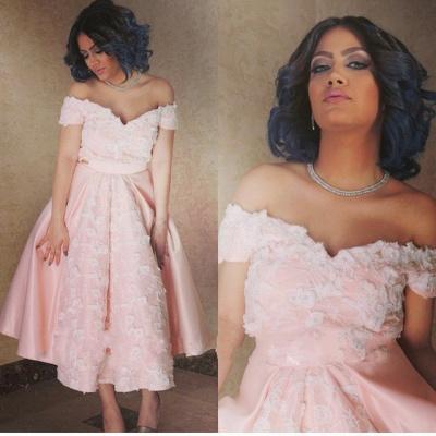Pink Appliques Off-the-Shoulder Elegant A-Line Prom Dress_3