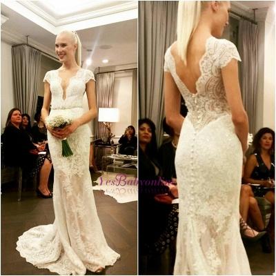 Glamorous Designer Floor-Length Button Lace Cap-Sleeve Wedding Dress_1
