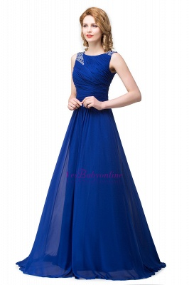 Scoop-neck Sleeveless Ruffled with Royal-blue  Long Beads Prom Dress_7