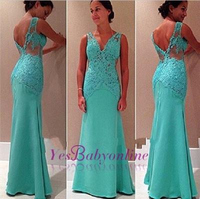 Sexy Lace Open-Back V-Neck Mermaid Sleeveless Party Dress_1