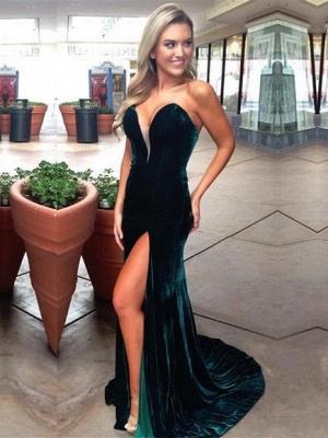 Dark Green Velvet Prom Dresses   Sexy Side Slit Evening Gowns_2