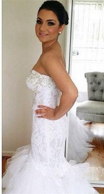Glamorous Sweetheart Sexy Mermaid Lace Wedding Dresses   Court Train Beaded Bridal Dresses_1