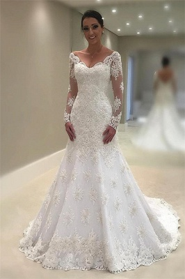 Glamorous Tulle Long Sleeves V-Neck Sexy Mermaid Lace Appliques Wedding Dresses_1