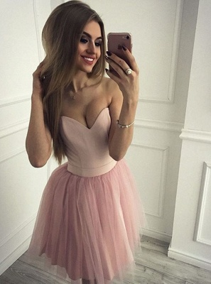 Sexy Sweetheart Pink Homecoming Dresses   Simple Tulle Short Cocktail Dresses_1