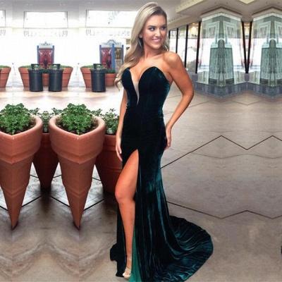 Dark Green Velvet Prom Dresses   Sexy Side Slit Evening Gowns_1
