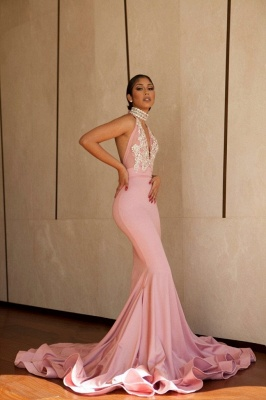 Halter V-neck Mermaid Prom Dresses | Pink Beading Long Evning Gowns_4