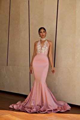 Halter V-neck Mermaid Prom Dresses | Pink Beading Long Evning Gowns_1