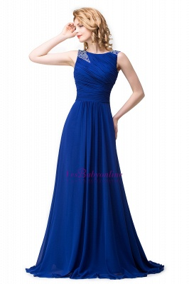 Scoop-neck Sleeveless Ruffled with Royal-blue  Long Beads Prom Dress_5
