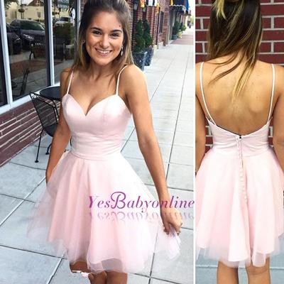 Sexy Pink Mini Sleeveless Spaghetti-Strap Zipper Homecoming DressBC2642_1