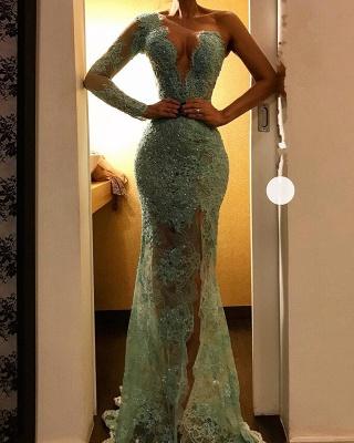 Elegant One-Shoulder Mermaid Evening Dresses | Side Slit Appliques Prom Gowns_3