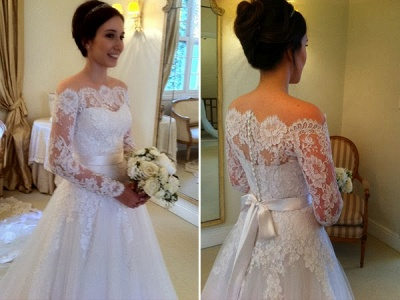 Sashes Sweep Train Off-the-shoulder Long Sleevess Glamorous A-line Wedding Dress_4