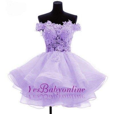 Short Flowers Off-the-Shoulder Ruffles Cute Homecoming Dress_1