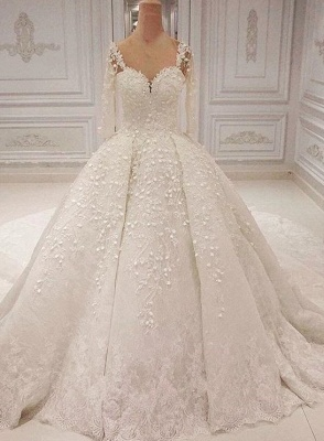 Round Sheer Long Sleeves Lace Beaded Ball Gown Wedding Dresses