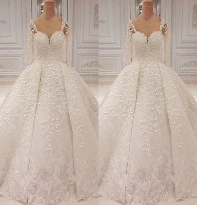 Round Sheer Long Sleeves Lace Beaded Ball Gown Wedding Dresses_2