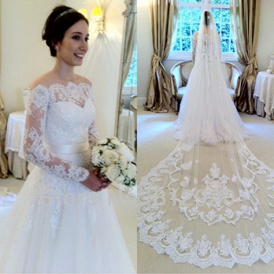 Sashes Sweep Train Off-the-shoulder Long Sleevess Glamorous A-line Wedding Dress_3