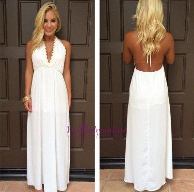 Attractive V-Neck White Backless Summer Halter Maxi Prom Dresses_1