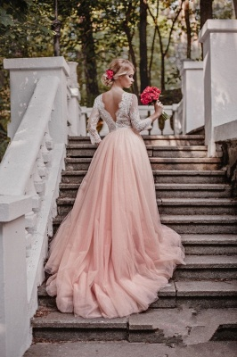Glamorous Long Sleeves V-Neck Pink Tulle Lace A-line Wedding Dresses_3