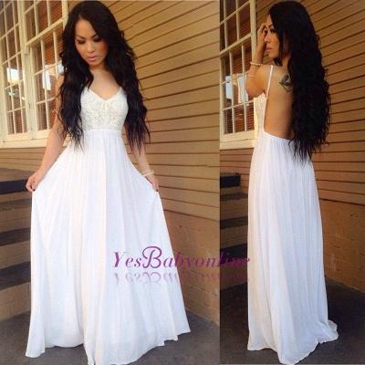 Lace White A-line Spaghetti-Strap Chiffon Newest Backless Prom Dress_1