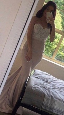 Beading Pearls Lace Sweetheart-Neck Pink Mermaid Prom Dresses_3