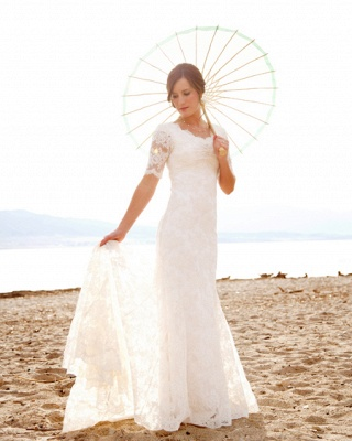 Scoop-Neck Short-Sleeves Sheath Style Lace Sweep Train Chic Wedding Dress_2