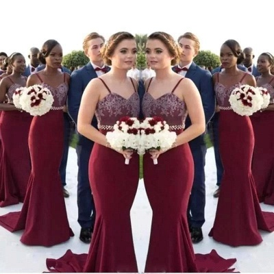 Sexy Mermaid Bridesmaid Dresses | Spaghettis Straps Beaded Wedding Party Gowns_4