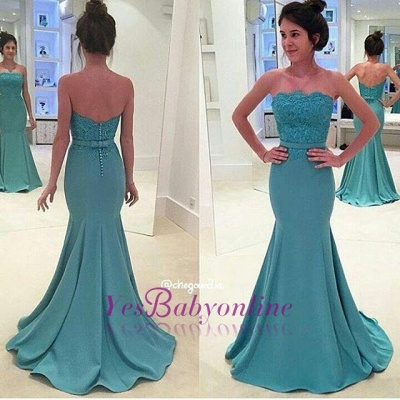 Lace Appliques Long Sash Sexy Mermaid Green Strapless Evening Gowns_1