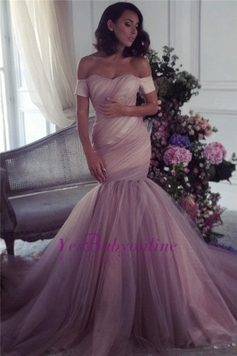 Ruffles Elegant Off-The-Shoulder Mermaid Lalic Tulle Evening Dress_2