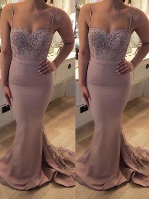 Bretelle Sweep Train Sexy Lace Spaghetti Prom Dresses_2