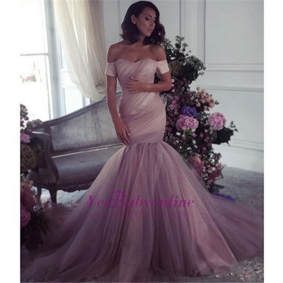 Ruffles Elegant Off-The-Shoulder Mermaid Lalic Tulle Evening Dress_1
