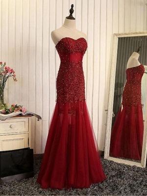 Beaded Brilliant Sweetheart  Sleeveless Mermaid Lace-Applique Prom Dresses_2