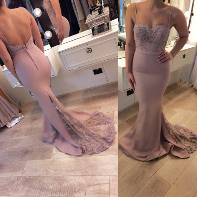 Bretelle Sweep Train Sexy Lace Spaghetti Prom Dresses_3