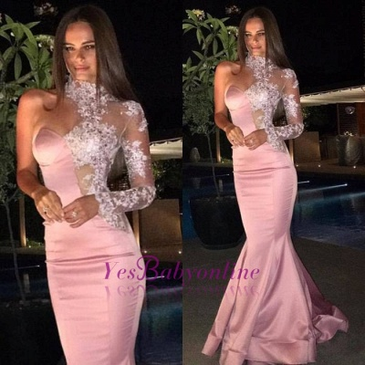 One-Shoulder Mermaid Gorgeous Lace High-Neck Evening Dress_1