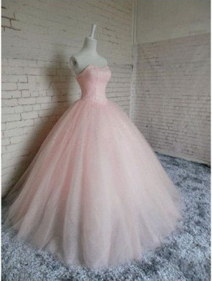 Gown Sleeveless Prom Chic Pink Dresses Ball Sweetheart  Princess Dresses_2