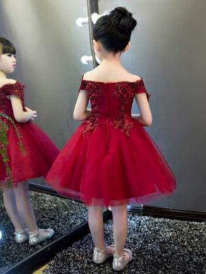 Lovely A-Line Tulle Off-The-Shoulder Short Sleeves Knee-Length Flower Girl Dress_3