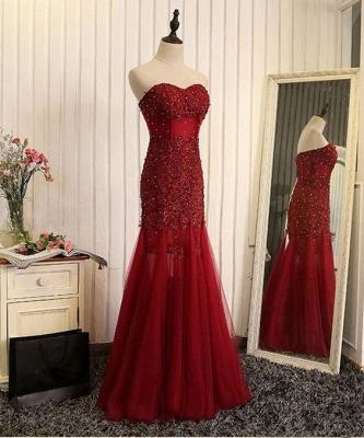 Beaded Brilliant Sweetheart  Sleeveless Mermaid Lace-Applique Prom Dresses_4
