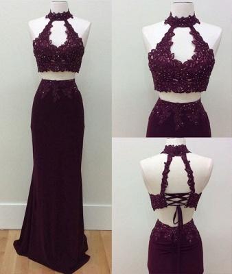 Lace-Up Sheath Lace Keyhole-Neck Beading Two-Piece Prom Dresses_3